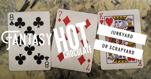 "three playing cards and the prompt ""fantasy, hot chocolate, and junkyard or scrapyard"""